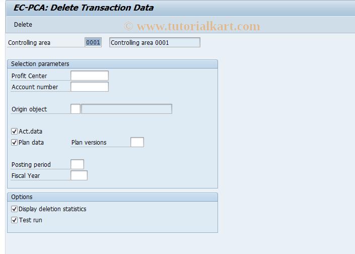 SAP TCode 0KE1 - EC-PCA: Delete Transaction Data
