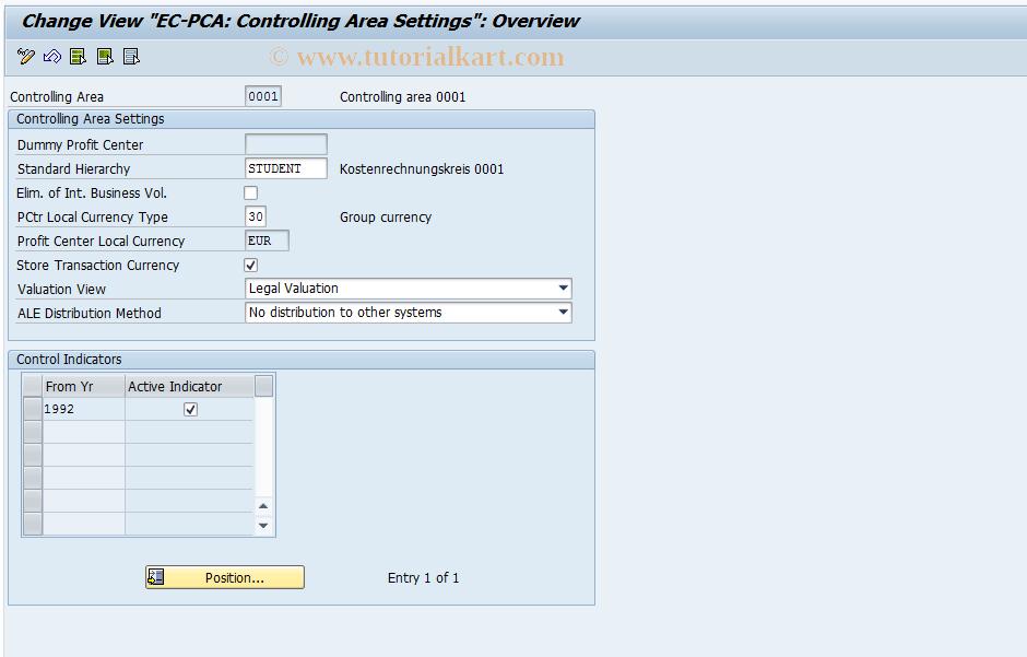 SAP TCode 0KE5 - EC-PCA: Controlling Area Settings