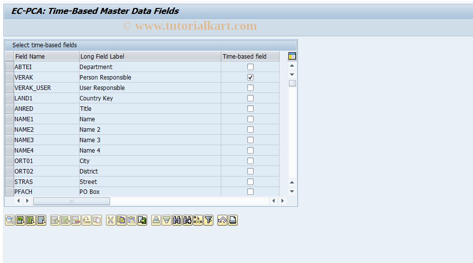 SAP TCode 0KE7 - EC-PCA: Maintain Time-Based Fields