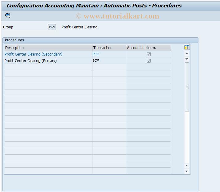 SAP TCode 0KEJ - Account Determination PC Allocation