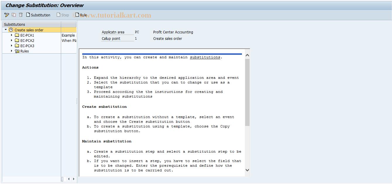 SAP TCode 0KEM - EC-PCA: Maintain substitutions