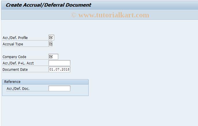 SAP TCode ACCR01 - Create Accrual/Deferral Document