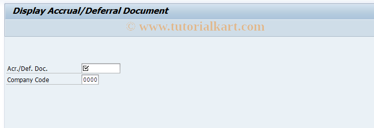 SAP TCode ACCR03 - Display Accrual/Deferral Document