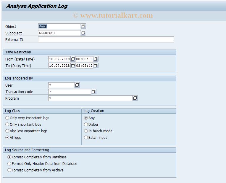 SAP TCode ACCR05 - Display Accruals/Deferrals Log