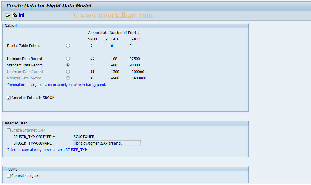 SAP TCode BC_DATA_GEN - Create Data for Flight Data Model