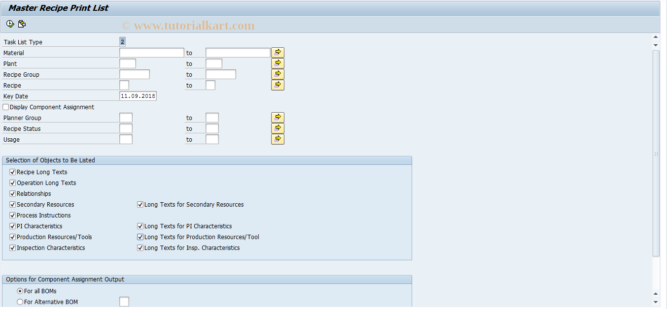 C251 SAP Tcode : Print Master Recipes Transaction Code