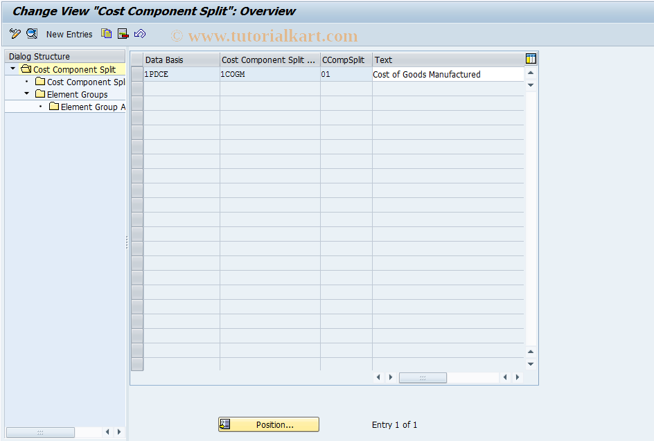 SAP TCode CCS - Cost Component Split