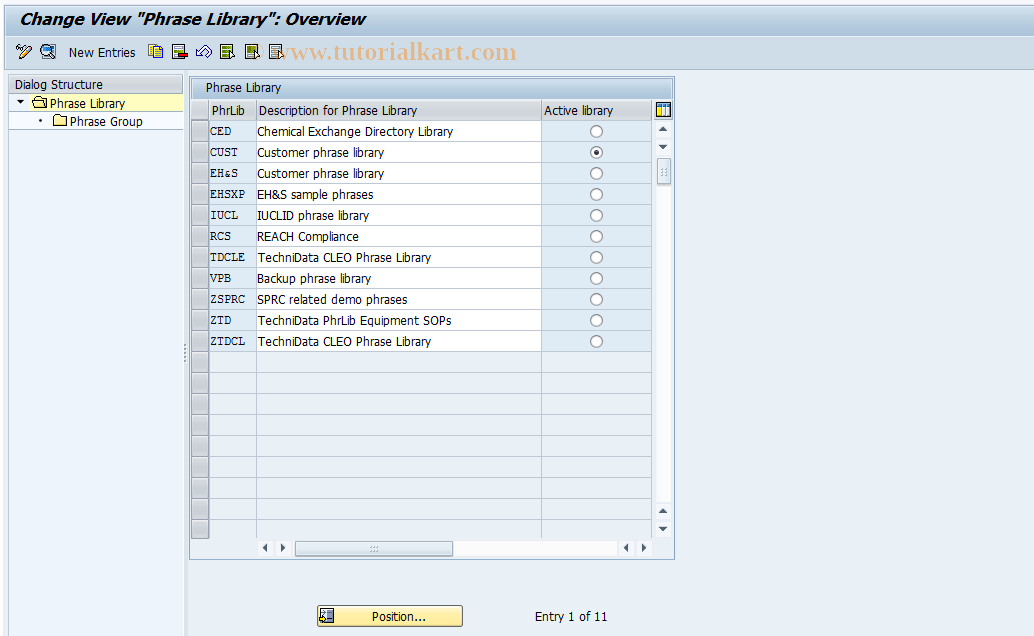 CGA9 SAP Tcode : EHS: Phrase Library Transaction Code