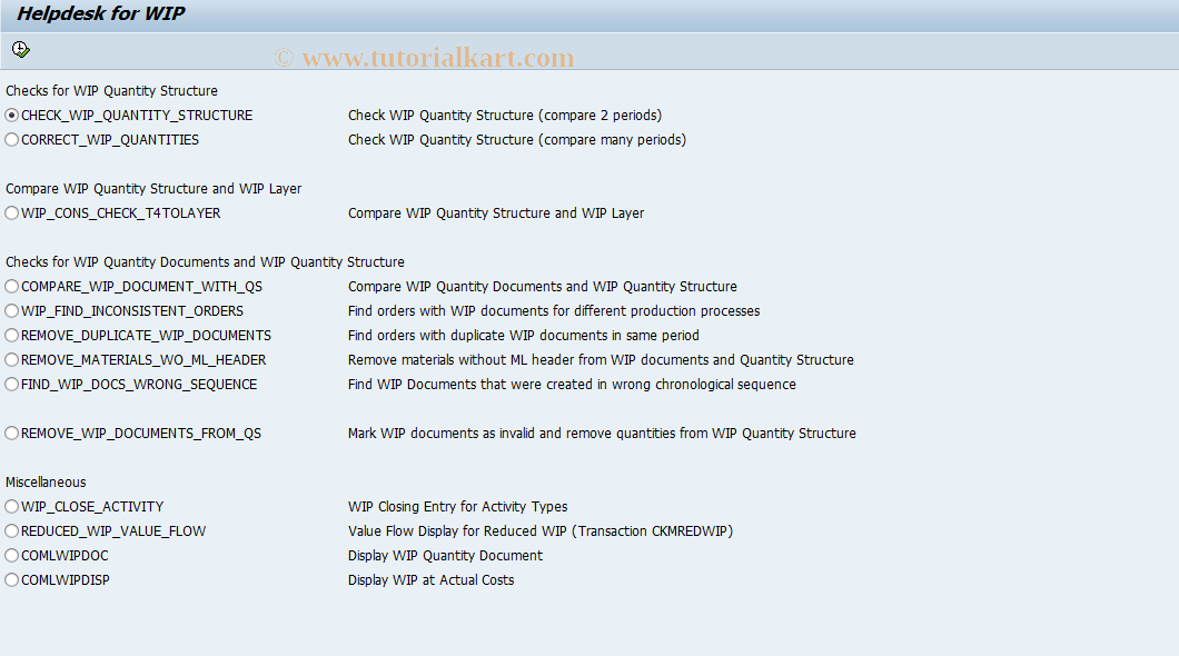 CKMHELPWIP SAP Tcode : Helpdesk for WIP Transaction Code