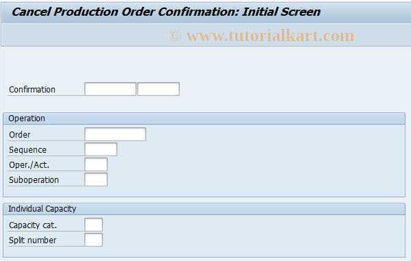CO13 SAP Tcode : Cancel confirmation of production order