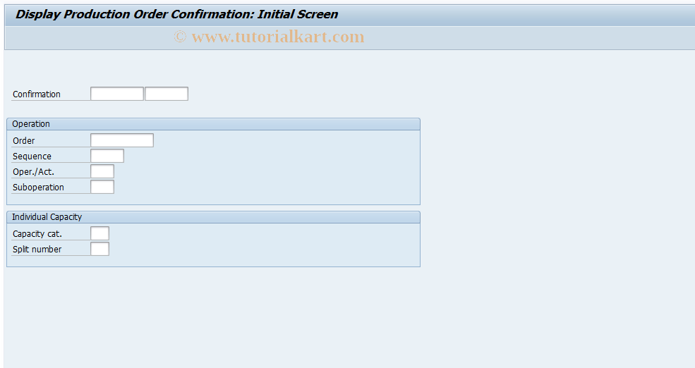 CO14 SAP Tcode : Display confirmation of production order
