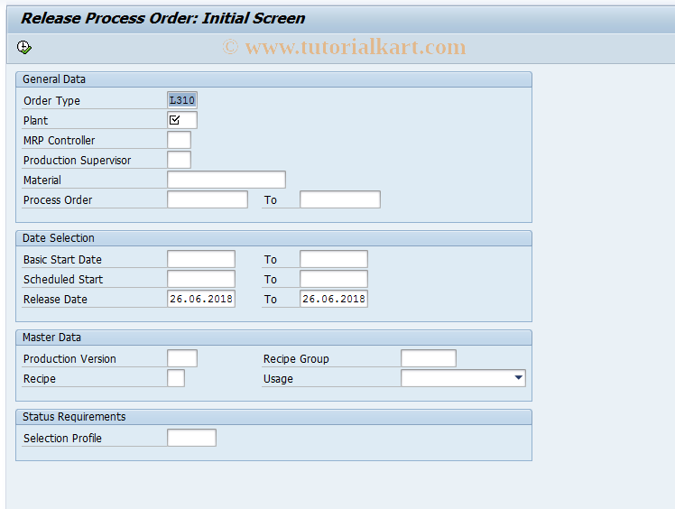 COR5 SAP Tcode : Collective Process Order Release