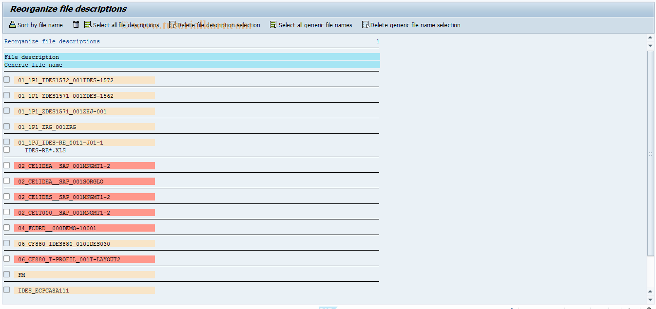 SAP TCode CX3O0 - Online Entry: Reorg File Descript.