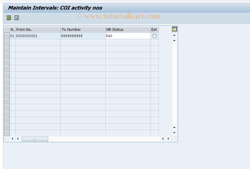CX5C SAP Tcode : Cons: Number Ranges - Activity No's
