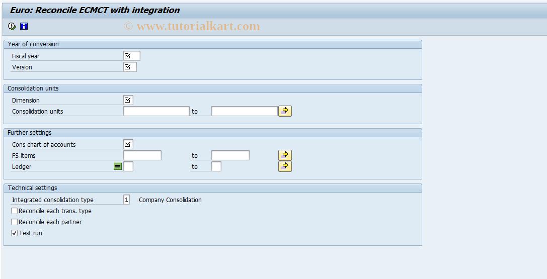 SAP TCode CXEUC - ECCS Euro: Integration