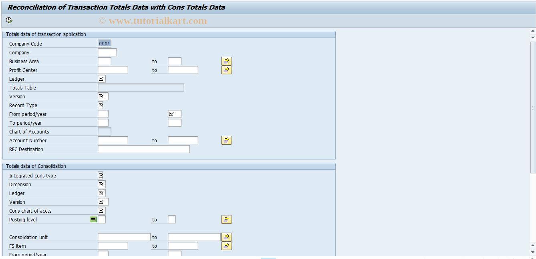 SAP TCode CXNZ - Reconciliation Totals Consolidation