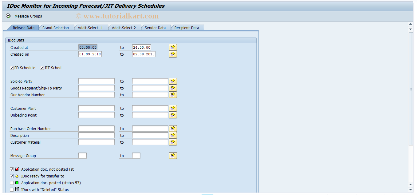 EMFOR SAP Tcode : Monitor for Forecast/JIT Delete Schedule