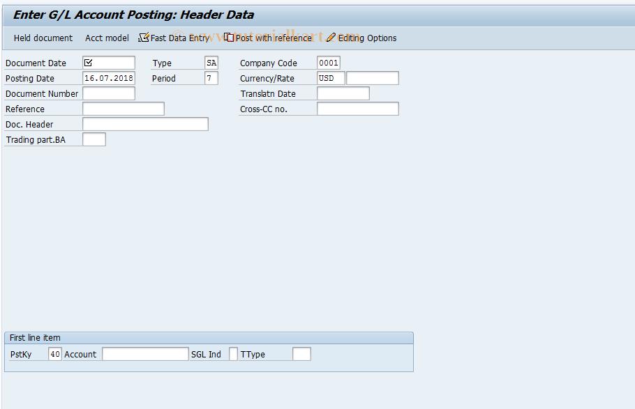 SAP TCode F-02 - Enter G/L Account Posting
