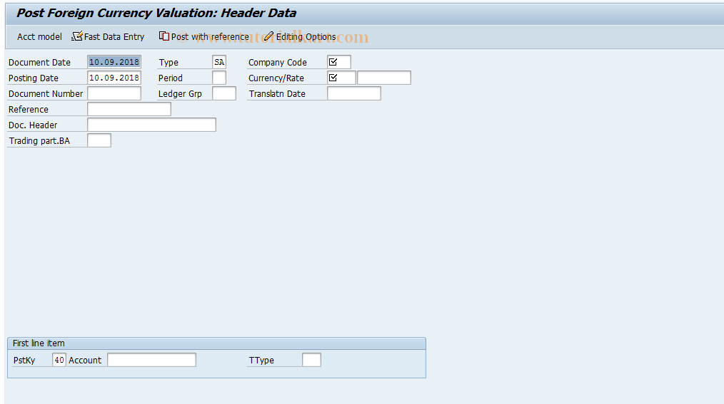 SAP TCode F-05 - Post Foreign Currency Valuation