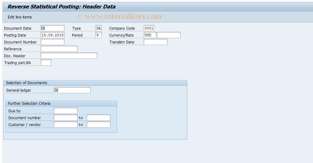 SAP TCode F-19 - Reverse Statistical Posting