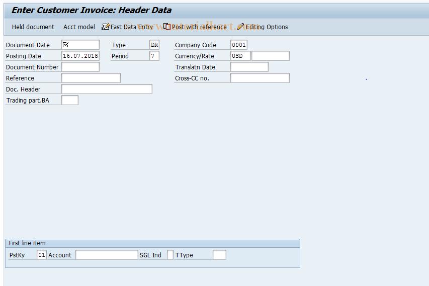 SAP TCode F-22 - Enter Customer Invoice