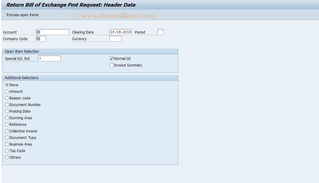 SAP TCode F-23 - Return Bill of Exchange Pmt Request