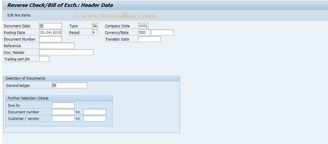 SAP TCode F-25 - Reverse Check/Bill of Exch.