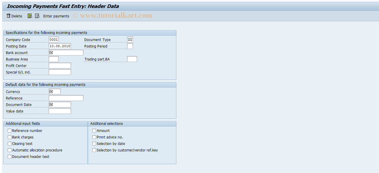 SAP TCode F-26 - Incoming Payments Fast Entry