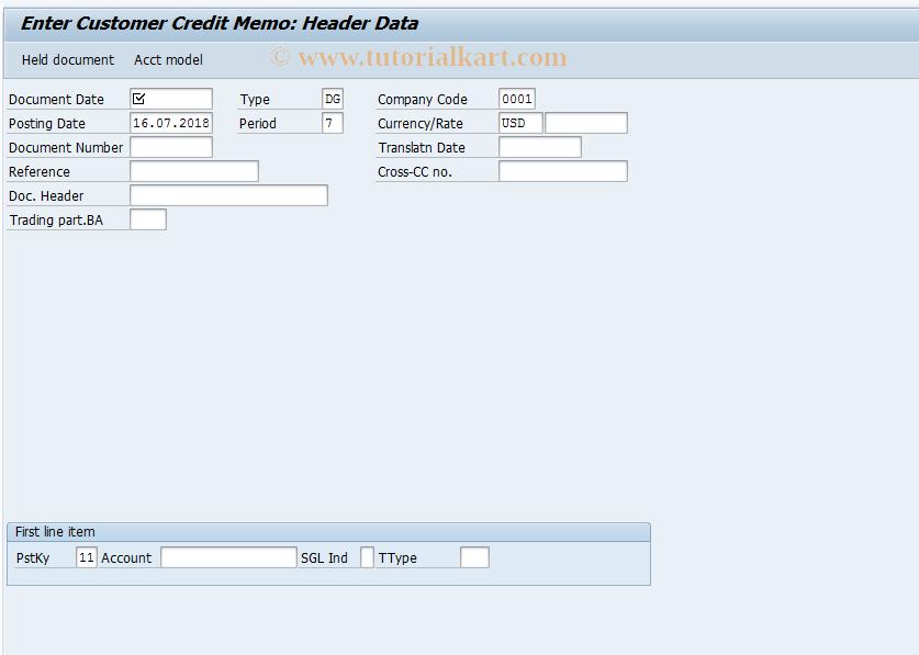 SAP TCode F-27 - Enter Customer Credit Memo