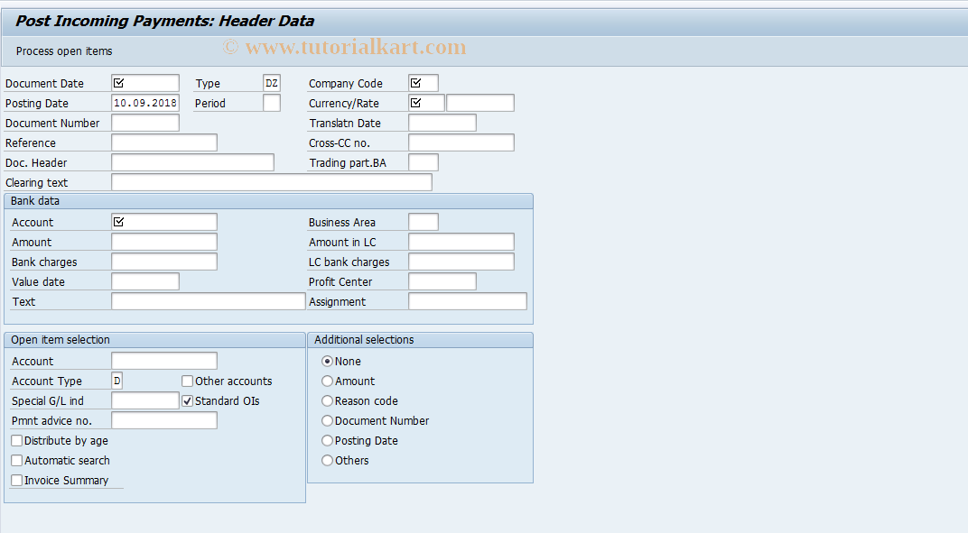 SAP TCode F-28 - Post Incoming Payments