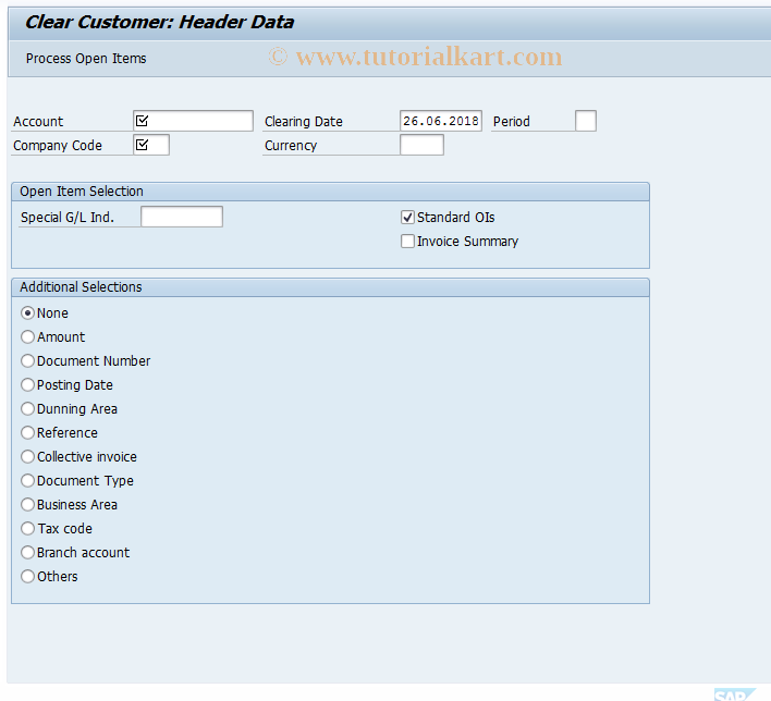 SAP TCode F-32 - Clear Customer