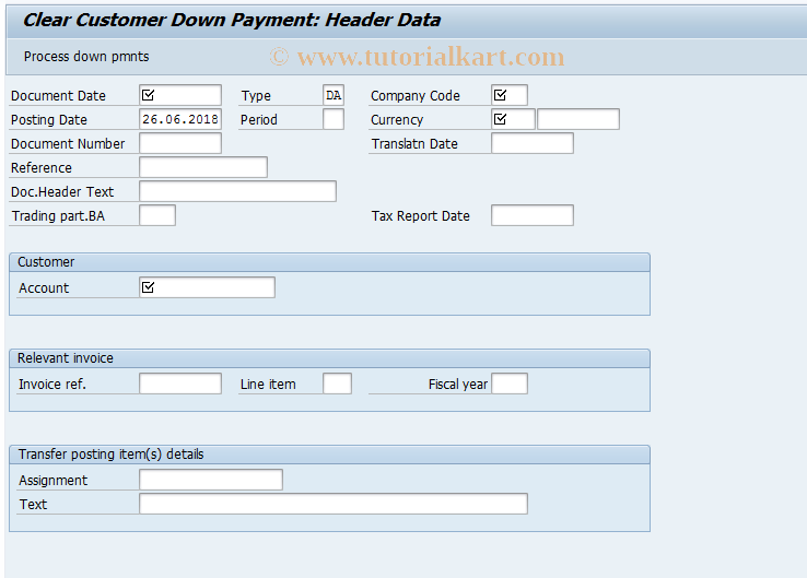 SAP TCode F-39 - Clear Customer Down Payment