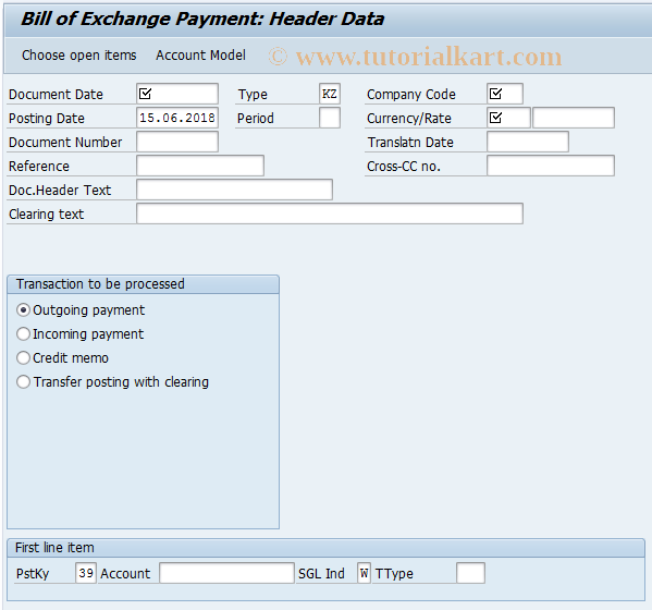 SAP TCode F-40 - Bill of Exchange Payment