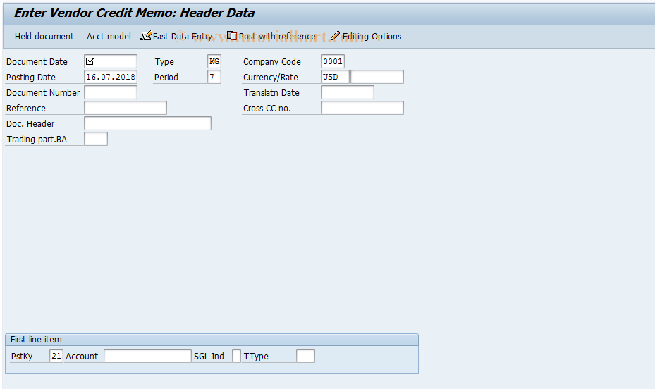 SAP TCode F-41 - Enter Vendor Credit Memo