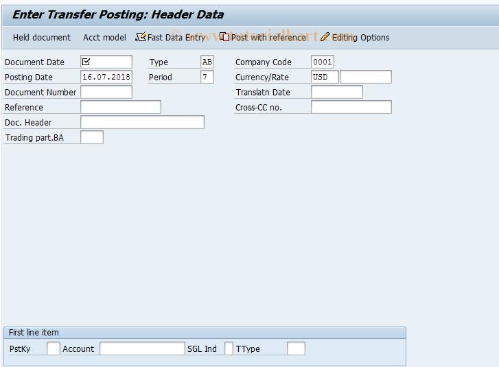 SAP TCode F-42 - Enter Transfer Posting