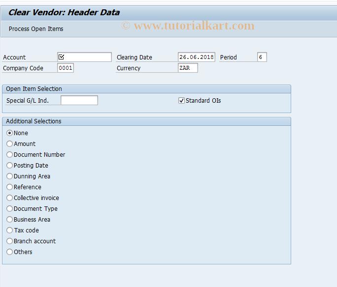 SAP TCode F-44 - Clear Vendor