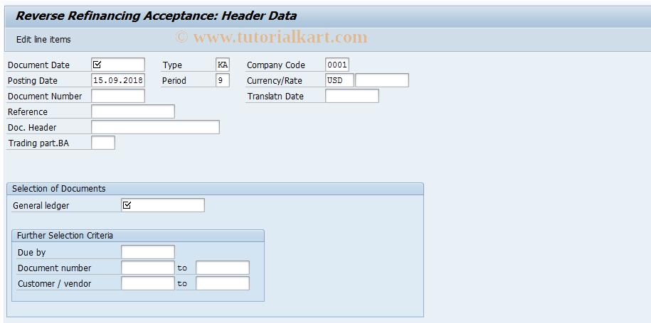 SAP TCode F-46 - Reverse Refinancing Acceptance