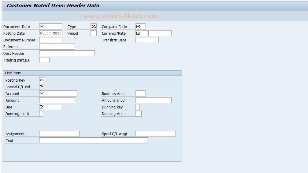 SAP TCode F-49 - Customer Noted Item