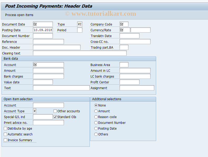 F-52 SAP Tcode : Post Incoming Payments Transaction Code