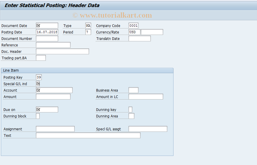 SAP TCode F-55 - Enter Statistical Posting