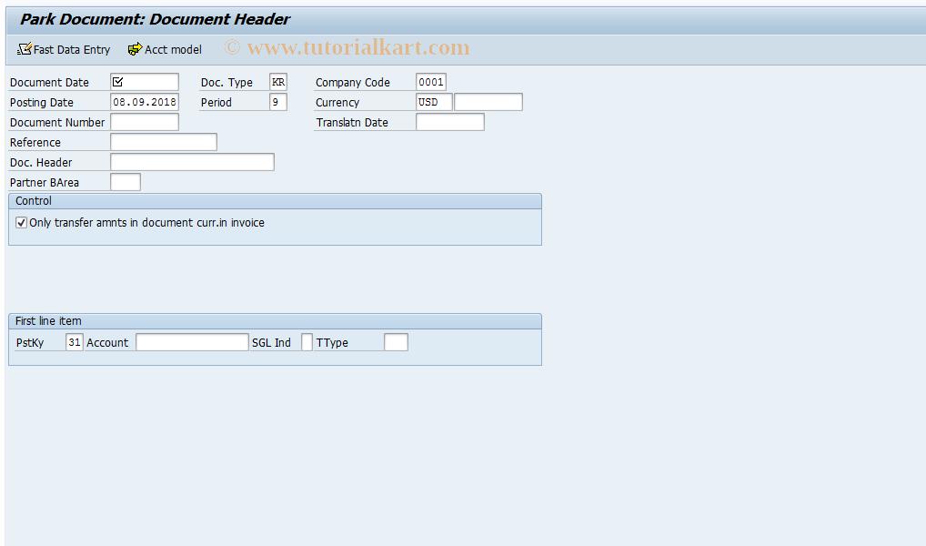 SAP TCode F-63 - Park Vendor Invoice