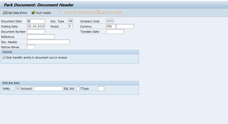 SAP TCode F-64 - Park Customer Invoice