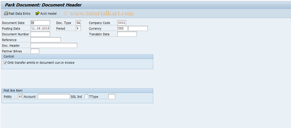 SAP TCode F-65 - Preliminary Posting