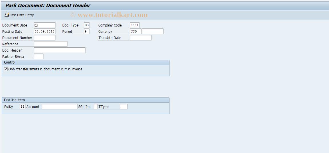 SAP TCode F-67 - Park Customer Credit Memo