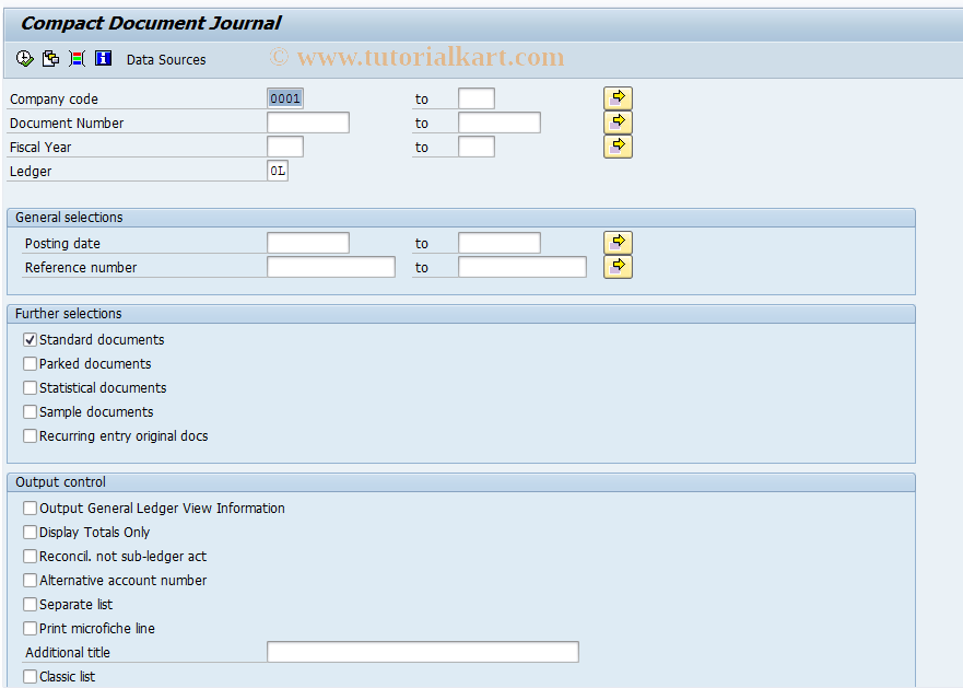 SAP TCode F.02 - Compact Journal