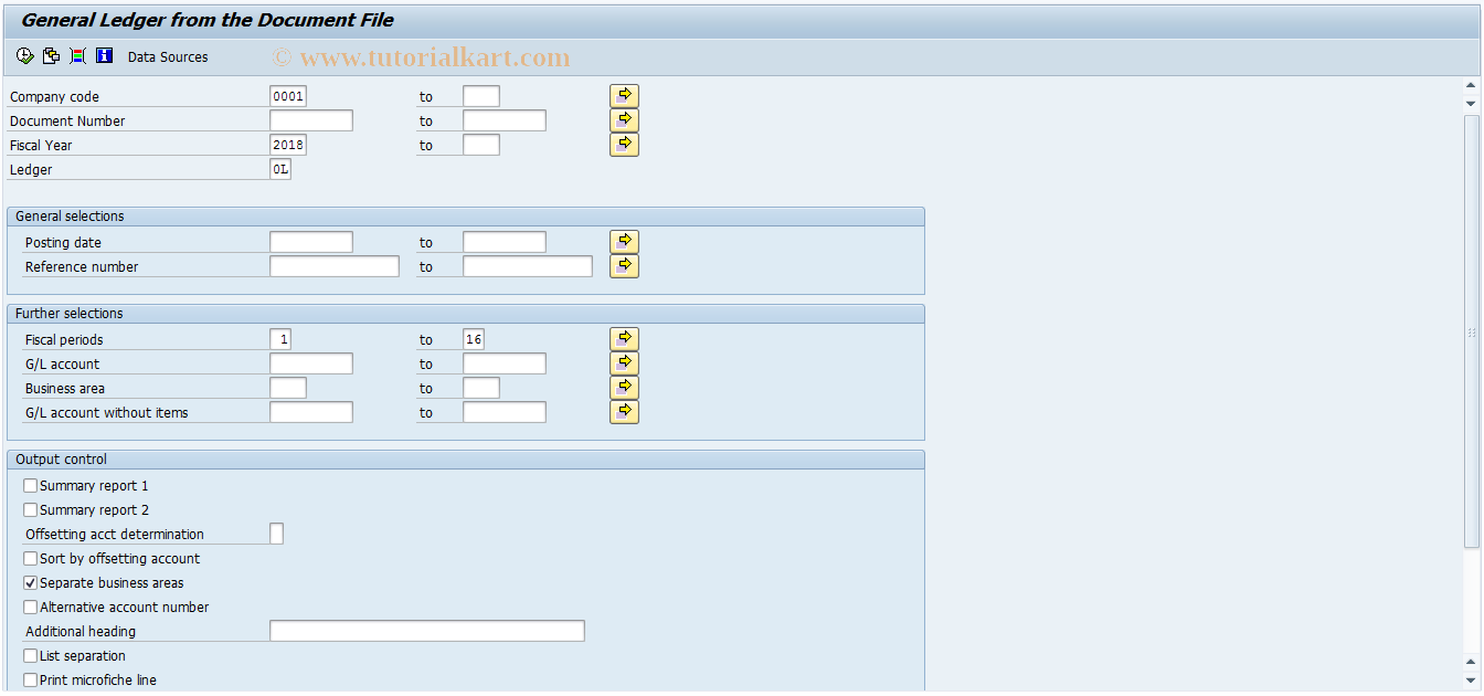 SAP TCode F.11 - G/L: General Ledger from Document File