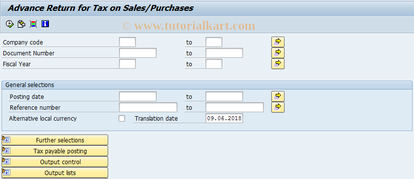 F 12 SAP Tcode : Adv Retrn for Tax on Sales/Purchases