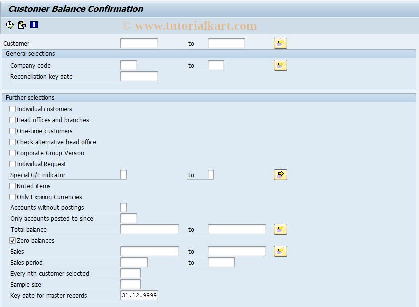 SAP TCode F.17 - ABAP/4 Report: Customer Bal.Confirmation