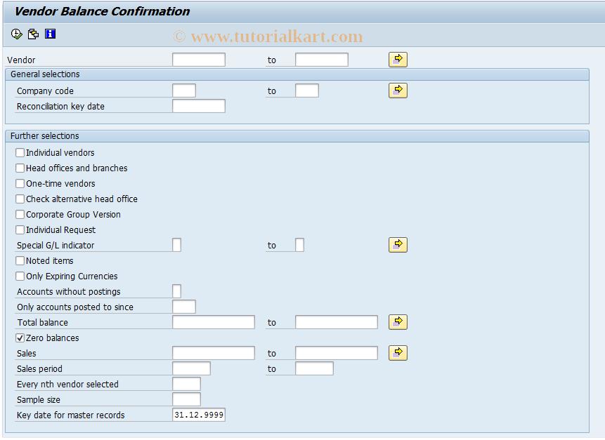 SAP TCode F.18 - ABAP/4 Report: Vend.Bal.Confirmation
