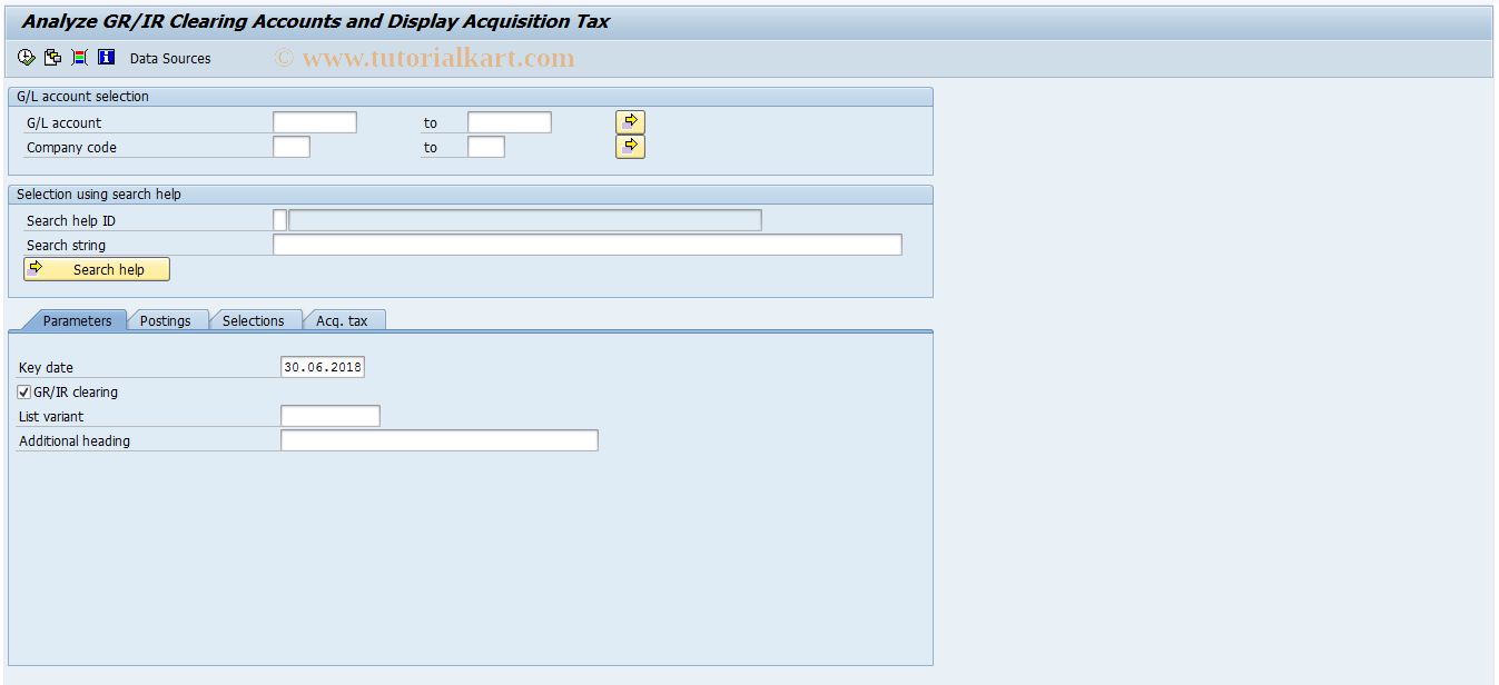 SAP TCode F.19 - G/L: Goods/Invoice Received Clearing